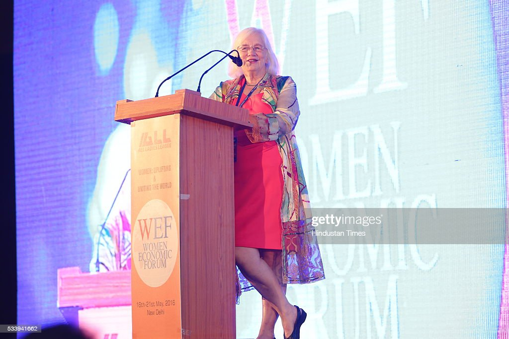 Women's eNews Founder Rita Henley Jensen addressing Women Economic Forum event hosted by ALL Ladies League at Pullman-Novotel Hotel on May 20, 2016 in New Delhi, India.