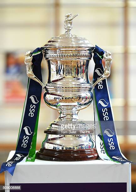 Women's FA Cup Trophy is pictured during the SSE Women's FA Cup Draw on February 8 2016 in London England