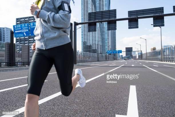 Women's feet running
