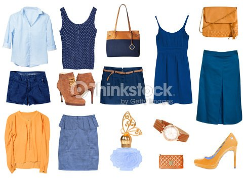 Women's female clothes isolated collage set. : Stock Photo