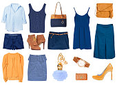 Fashion female office clothes collage.Glamour women's wear.Beautiful set of modern gir's wear.