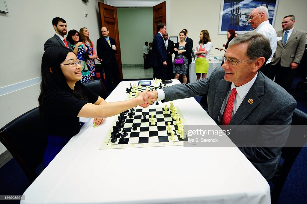 Women's FIDE Master Sarah Chiang (L) shares chess tips with Rep. Blaine Luetkemeyer (R-MO) during a special event held at United States Capitol Building on April 18, 2013 in Washington, DC.