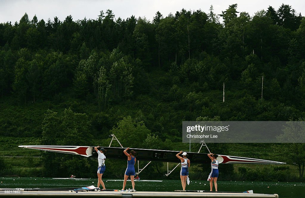 Womens Four Team GB bringing their boat in after their practice session during the Bearing Point Rowing World Cup Day 2 on the Rotsee on July 9, 2005 in Lucerne, Switzerland.
