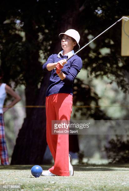 Women's golfer Hisako Higuchi in action during tournament play circa 1977