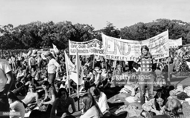 A women's group at an antiVietnam War gathering in Golden Gate Park San Francisco California late 1960s
