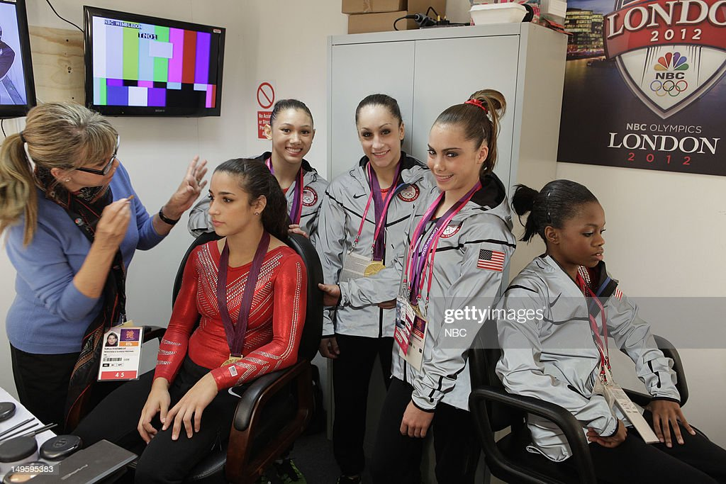 Women's Gymnasts -- Pictured: (l-r) Aly Raisman, <a gi-track='captionPersonalityLinkClicked' href=/galleries/search?phrase=Kyla+Ross&family=editorial&specificpeople=6920700 ng-click='$event.stopPropagation()'>Kyla Ross</a>, <a gi-track='captionPersonalityLinkClicked' href=/galleries/search?phrase=Jordyn+Wieber&family=editorial&specificpeople=5720749 ng-click='$event.stopPropagation()'>Jordyn Wieber</a>, <a gi-track='captionPersonalityLinkClicked' href=/galleries/search?phrase=McKayla+Maroney&family=editorial&specificpeople=7138673 ng-click='$event.stopPropagation()'>McKayla Maroney</a>, <a gi-track='captionPersonalityLinkClicked' href=/galleries/search?phrase=Gabby+Douglas&family=editorial&specificpeople=8465211 ng-click='$event.stopPropagation()'>Gabby Douglas</a> --