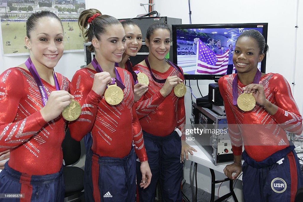 Women's Gymnasts -- Pictured: (l-r) <a gi-track='captionPersonalityLinkClicked' href=/galleries/search?phrase=Jordyn+Wieber&family=editorial&specificpeople=5720749 ng-click='$event.stopPropagation()'>Jordyn Wieber</a>, <a gi-track='captionPersonalityLinkClicked' href=/galleries/search?phrase=McKayla+Maroney&family=editorial&specificpeople=7138673 ng-click='$event.stopPropagation()'>McKayla Maroney</a>, <a gi-track='captionPersonalityLinkClicked' href=/galleries/search?phrase=Kyla+Ross&family=editorial&specificpeople=6920700 ng-click='$event.stopPropagation()'>Kyla Ross</a>, Aly Raisman, <a gi-track='captionPersonalityLinkClicked' href=/galleries/search?phrase=Gabby+Douglas&family=editorial&specificpeople=8465211 ng-click='$event.stopPropagation()'>Gabby Douglas</a> --
