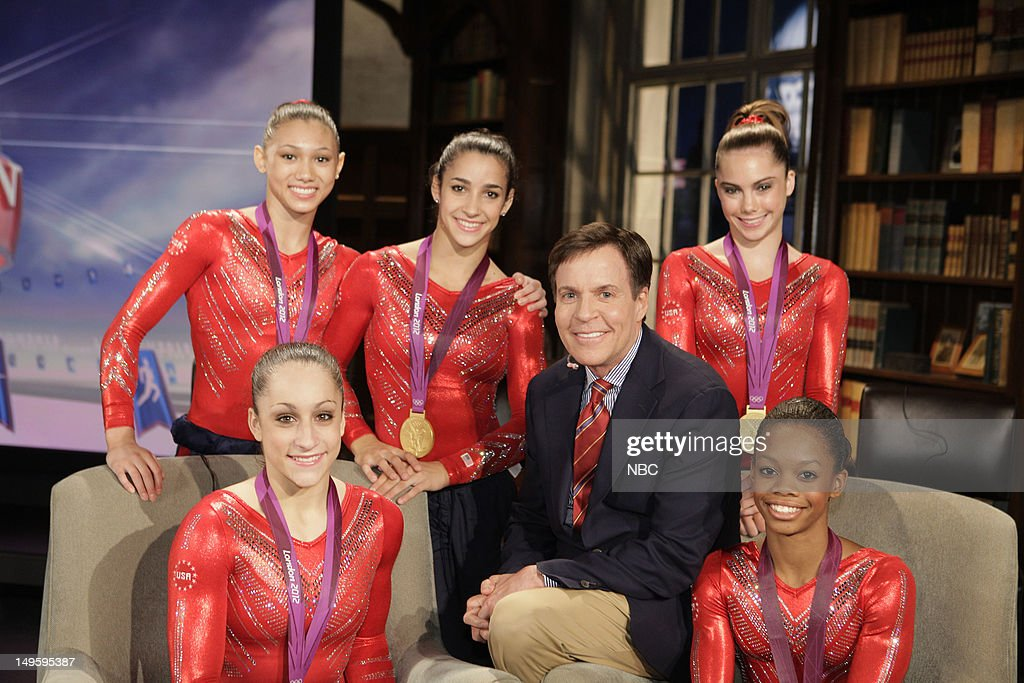 Women's Gymnasts -- Pictured: (l-r) <a gi-track='captionPersonalityLinkClicked' href=/galleries/search?phrase=Kyla+Ross&family=editorial&specificpeople=6920700 ng-click='$event.stopPropagation()'>Kyla Ross</a>, <a gi-track='captionPersonalityLinkClicked' href=/galleries/search?phrase=Jordyn+Wieber&family=editorial&specificpeople=5720749 ng-click='$event.stopPropagation()'>Jordyn Wieber</a>, Aly Raisman, <a gi-track='captionPersonalityLinkClicked' href=/galleries/search?phrase=Bob+Costas&family=editorial&specificpeople=225170 ng-click='$event.stopPropagation()'>Bob Costas</a>, <a gi-track='captionPersonalityLinkClicked' href=/galleries/search?phrase=McKayla+Maroney&family=editorial&specificpeople=7138673 ng-click='$event.stopPropagation()'>McKayla Maroney</a>, <a gi-track='captionPersonalityLinkClicked' href=/galleries/search?phrase=Gabby+Douglas&family=editorial&specificpeople=8465211 ng-click='$event.stopPropagation()'>Gabby Douglas</a> --