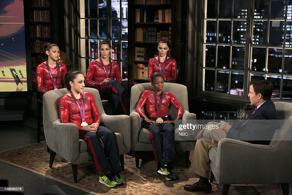 Women's Gymnasts -- Pictured: (l-r) <a gi-track='captionPersonalityLinkClicked' href=/galleries/search?phrase=Kyla+Ross&family=editorial&specificpeople=6920700 ng-click='$event.stopPropagation()'>Kyla Ross</a>, <a gi-track='captionPersonalityLinkClicked' href=/galleries/search?phrase=Jordyn+Wieber&family=editorial&specificpeople=5720749 ng-click='$event.stopPropagation()'>Jordyn Wieber</a>, Aly Raisman, <a gi-track='captionPersonalityLinkClicked' href=/galleries/search?phrase=McKayla+Maroney&family=editorial&specificpeople=7138673 ng-click='$event.stopPropagation()'>McKayla Maroney</a>, <a gi-track='captionPersonalityLinkClicked' href=/galleries/search?phrase=Gabby+Douglas&family=editorial&specificpeople=8465211 ng-click='$event.stopPropagation()'>Gabby Douglas</a>, <a gi-track='captionPersonalityLinkClicked' href=/galleries/search?phrase=Bob+Costas&family=editorial&specificpeople=225170 ng-click='$event.stopPropagation()'>Bob Costas</a> --