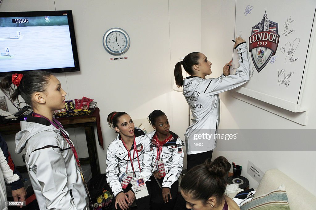 Women's Gymnasts -- Pictured: (l-r) <a gi-track='captionPersonalityLinkClicked' href=/galleries/search?phrase=Kyla+Ross&family=editorial&specificpeople=6920700 ng-click='$event.stopPropagation()'>Kyla Ross</a>, <a gi-track='captionPersonalityLinkClicked' href=/galleries/search?phrase=McKayla+Maroney&family=editorial&specificpeople=7138673 ng-click='$event.stopPropagation()'>McKayla Maroney</a>, <a gi-track='captionPersonalityLinkClicked' href=/galleries/search?phrase=Gabby+Douglas&family=editorial&specificpeople=8465211 ng-click='$event.stopPropagation()'>Gabby Douglas</a>, <a gi-track='captionPersonalityLinkClicked' href=/galleries/search?phrase=Jordyn+Wieber&family=editorial&specificpeople=5720749 ng-click='$event.stopPropagation()'>Jordyn Wieber</a> --