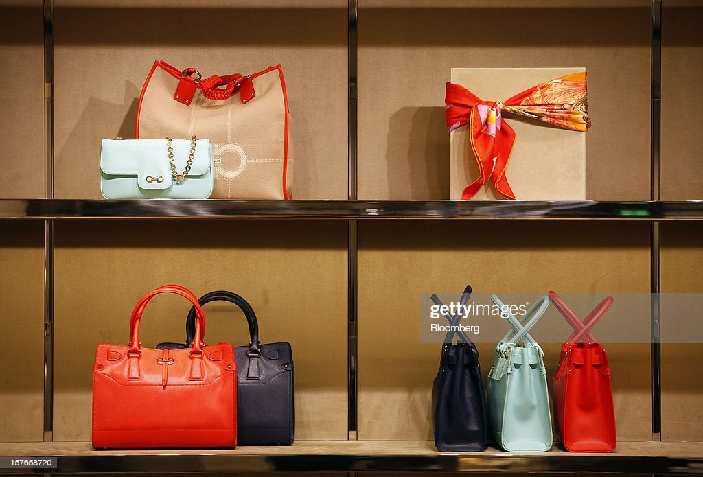 Women's hand bags are displayed for sale inside Salvatore Ferragamo SpA's Sloane Street store in London, U.K., on Wednesday, Dec. 5, 2012. Demand for Ferragamo's shoes and other items is increasing even as China's economy slows and Europe's debt crisis weighs on consumer spending. Photographer: Simon Dawson/Bloomberg via Getty Images