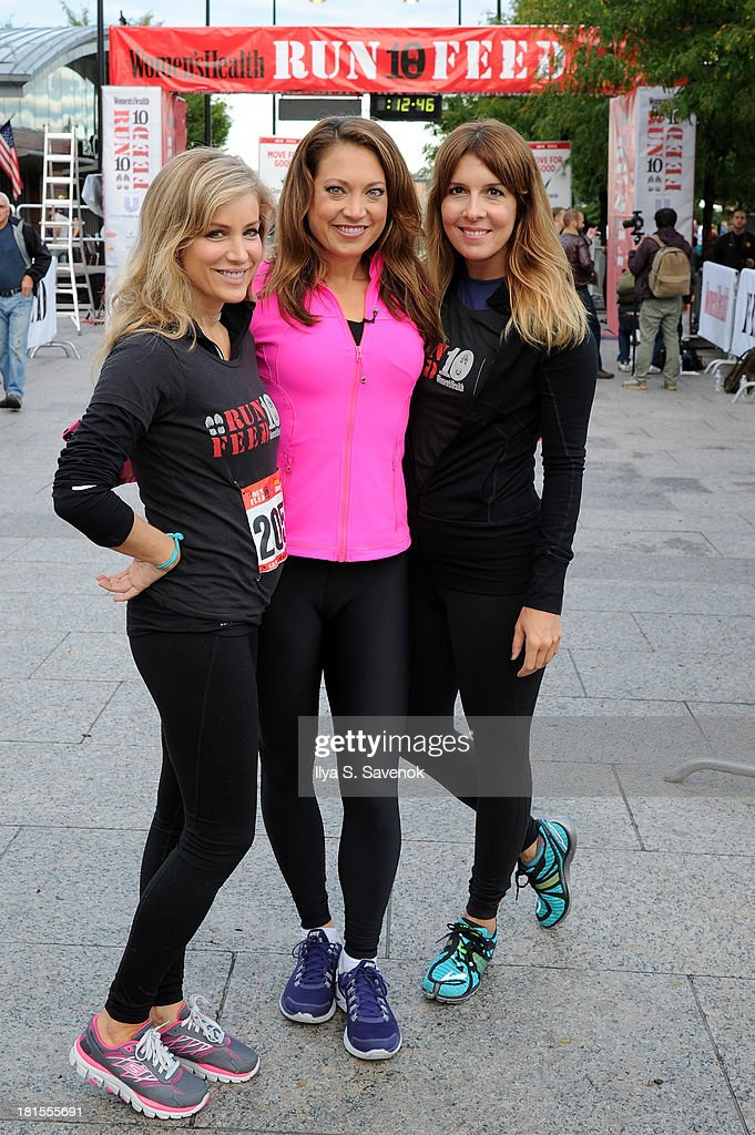 Women's Health publisher, Laura Frerer-Schmidt, Television personality Ginger Zee and Editor In Chief of Women's Health, Michele Promaulayko attend Women's Health Magazine RUN10 FEED10 NYC 10K Race Event at Pier 84 on September 22, 2013 in New York City.