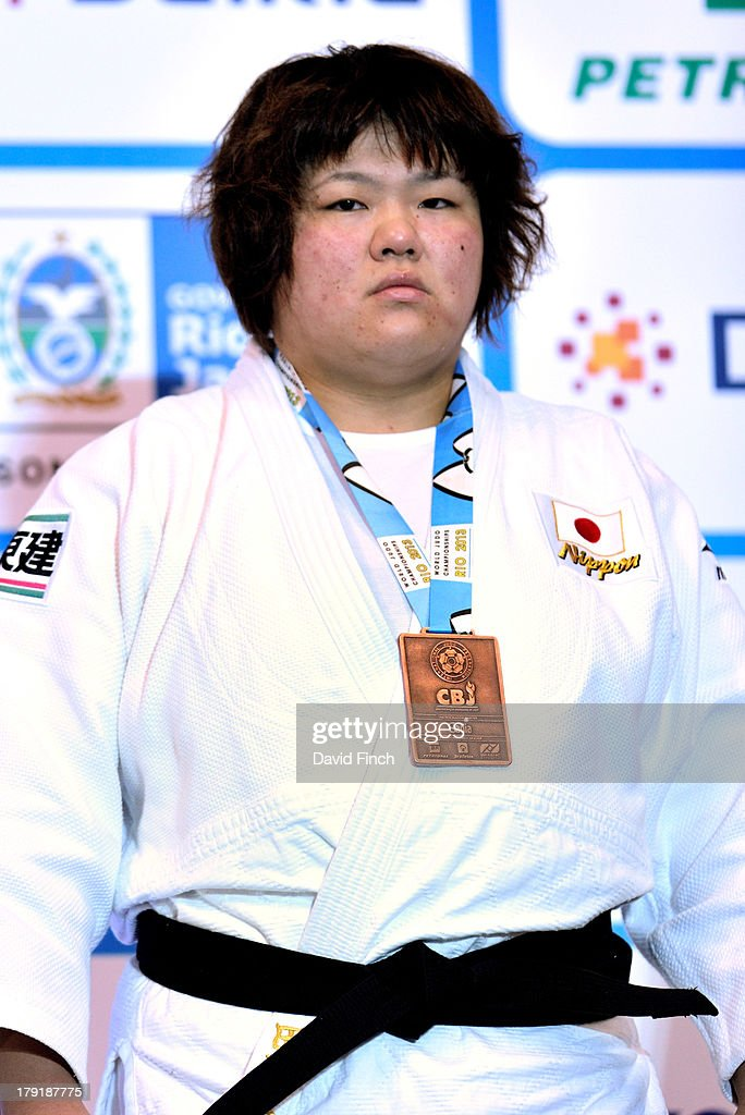 Women's heavyweight bronze medallist, <a gi-track='captionPersonalityLinkClicked' href=/galleries/search?phrase=Megumi+Tachimoto&family=editorial&specificpeople=5645971 ng-click='$event.stopPropagation()'>Megumi Tachimoto</a> of Japan at the Rio World Judo Championships on Day 6 at the Gympasium Maracanazinho on August 31, 2013 in Rio de Janeiro, Brazil.