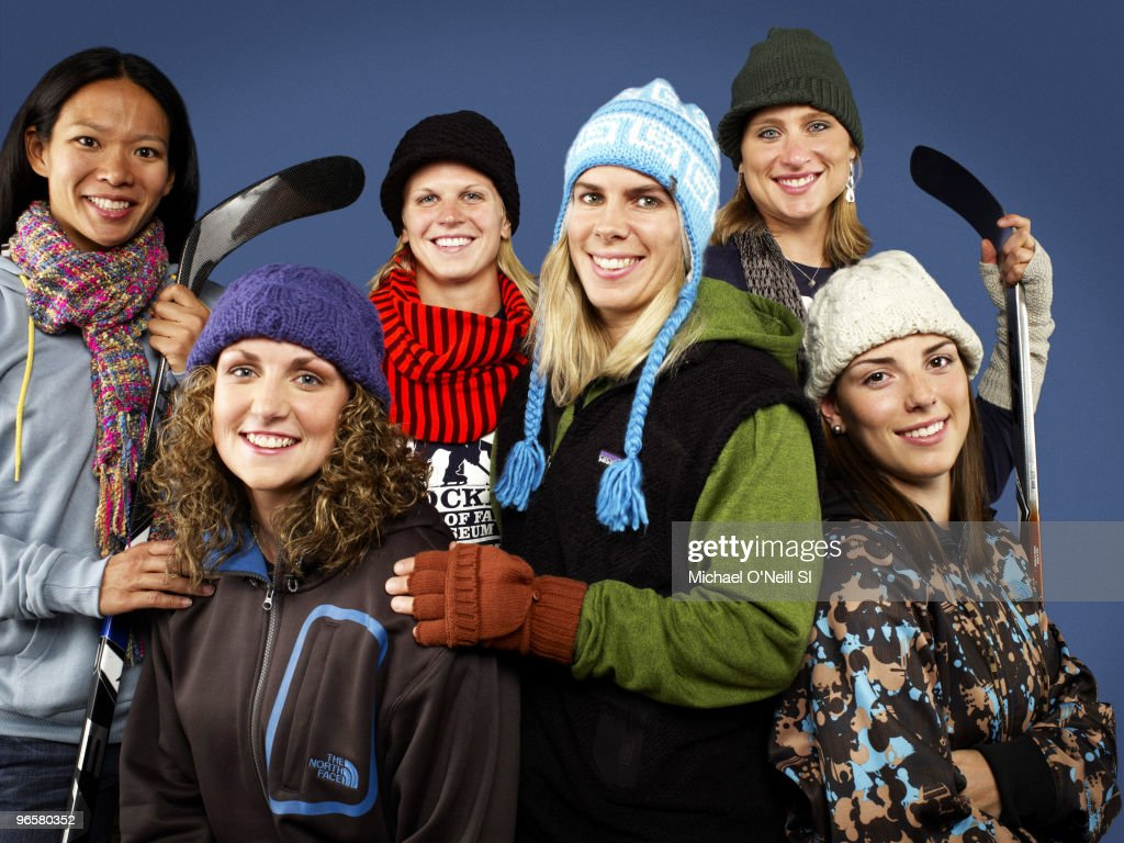 USA Women's Ice Hockey Team, 2010 Vancouver Olympic Games Preview Portrait of USA Women's Team players (L-R) <a gi-track='captionPersonalityLinkClicked' href=/galleries/search?phrase=Julie+Chu&family=editorial&specificpeople=677214 ng-click='$event.stopPropagation()'>Julie Chu</a>, <a gi-track='captionPersonalityLinkClicked' href=/galleries/search?phrase=Jessie+Vetter&family=editorial&specificpeople=5128022 ng-click='$event.stopPropagation()'>Jessie Vetter</a>, <a gi-track='captionPersonalityLinkClicked' href=/galleries/search?phrase=Natalie+Darwitz&family=editorial&specificpeople=723092 ng-click='$event.stopPropagation()'>Natalie Darwitz</a>, <a gi-track='captionPersonalityLinkClicked' href=/galleries/search?phrase=Jenny+Potter&family=editorial&specificpeople=722822 ng-click='$event.stopPropagation()'>Jenny Potter</a>, <a gi-track='captionPersonalityLinkClicked' href=/galleries/search?phrase=Angela+Ruggiero&family=editorial&specificpeople=220275 ng-click='$event.stopPropagation()'>Angela Ruggiero</a>, and Hilary Knight during photo shoot in Chicago, IL 9/14/2009. Set Number: X82993 TK5 R4 F8. PUBLISHED