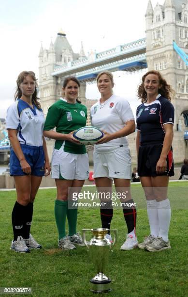 Women's International Rugby captains from Group B left to right Anastassiya Khamova Kazakhstan Fiona Coghlan Ireland Catherine Spencer England Ashley...