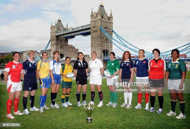 Women's International Rugby captains from the twelve competing nations left to right Melissa Berry Wales Lynne Reid Scotland Ulrika AnderssonHall...