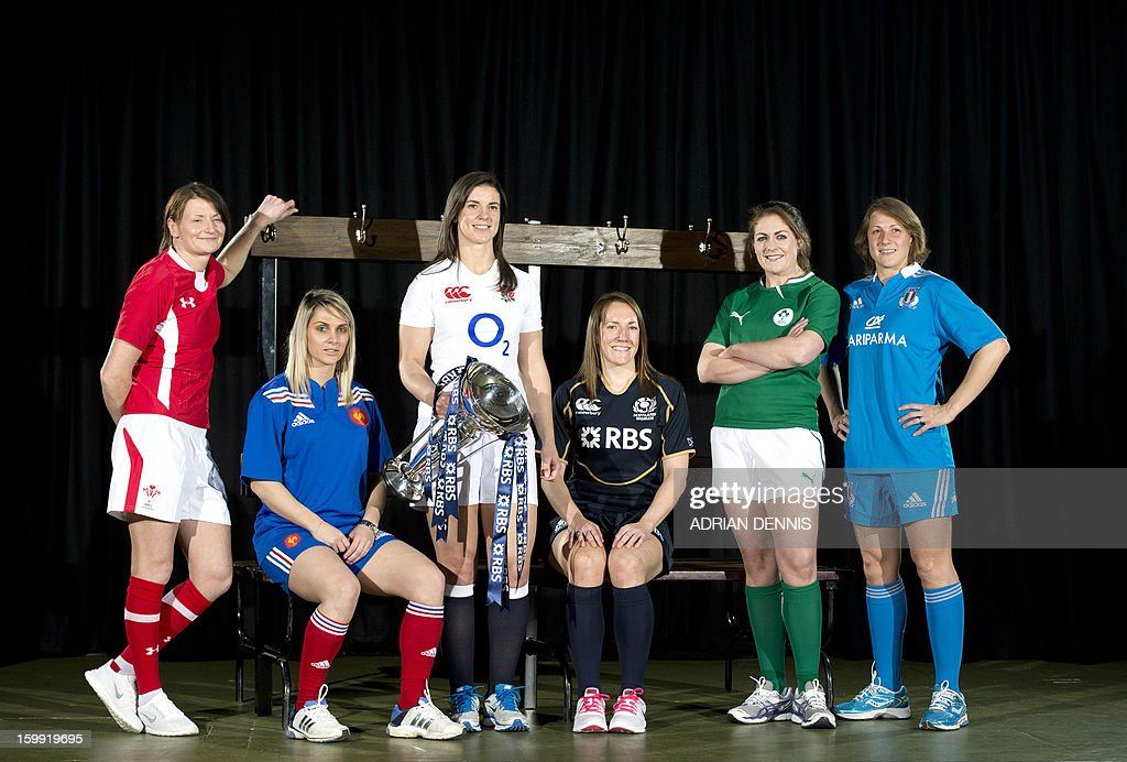 Women's International Rugby Captains (from L-R) Wales' Rachel Taylor, France's Marie-Alice Yahe, England's Sarah Hunter, Scotland's Susie Brown, Ireland's Fiona Coghlan and Italy's Silvia Gaudino pose for a photograph during the official launch of the 2013 Six Nations International rugby tournament at the Hurlingham Club in London, on January 23, 2013. AFP PHOTO / ADRIAN DENNIS