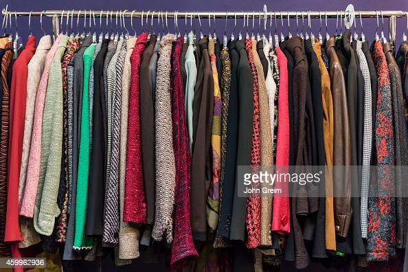 Women's jacket selection in a thrift shop