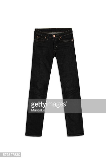 Womens Jeans Pants in black, isolated on white background : Stock Photo