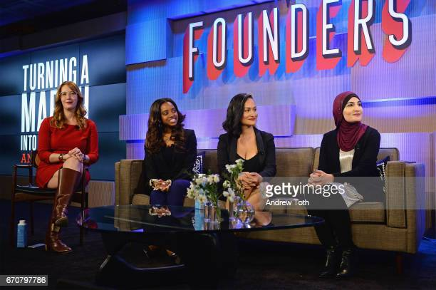 Women's March National CoChairs Bob Bland Tamika D Mallory Carmen Perez and Linda Sarsour speak onstage during Vanity Fair's Founders Fair at the 1...