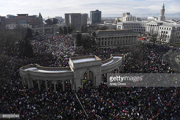 Women's March on Denver in Civic Center Park January 21 2017 An estimated 40000 people converged on downtown Denver in coordination with...
