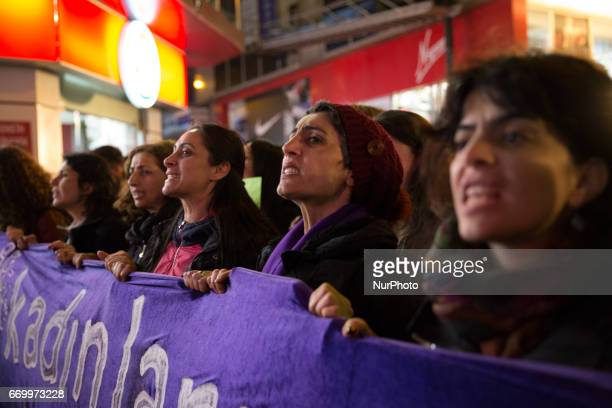 A women's march winds through the Kadikoy neighborhood of Istanbul on April 18 2017 People marched in opposition to perceived voting irregularities...