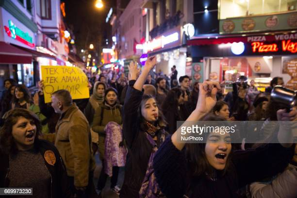 A women's march winds through the Kadikoy neighborhood of Istanbul on April 18 2017 People protested perceived voting irregularities in last Sunday's...