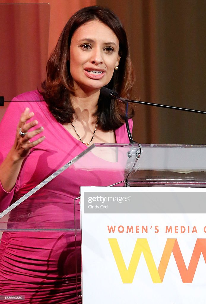Women's Media Center Carol Jenkins Emerging Journalist Award winner, Maria Teresa Kumar speaks onstage at the 2013 Women's Media Awards on October 8, 2013 in New York City.