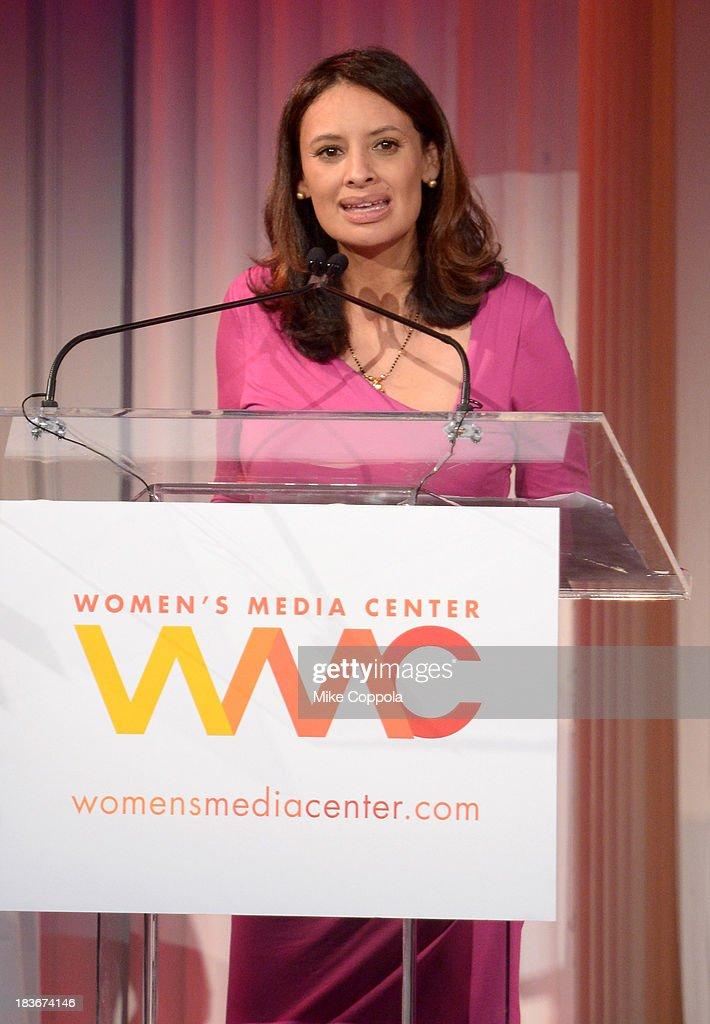 Women's Media Center Carol Jenkins Emerging Journalist Award winner Maria Teresa Kumar speaks onstage at the 2013 Women's Media Awards on October 8...