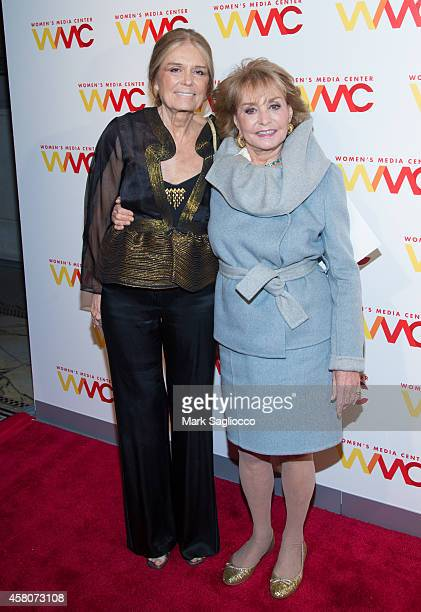 Women's Media Center cofounder Gloria Steinem and Honoree Barbara Walters attend the 2014 Women's Media Awards at Capitale on October 29 2014 in New...