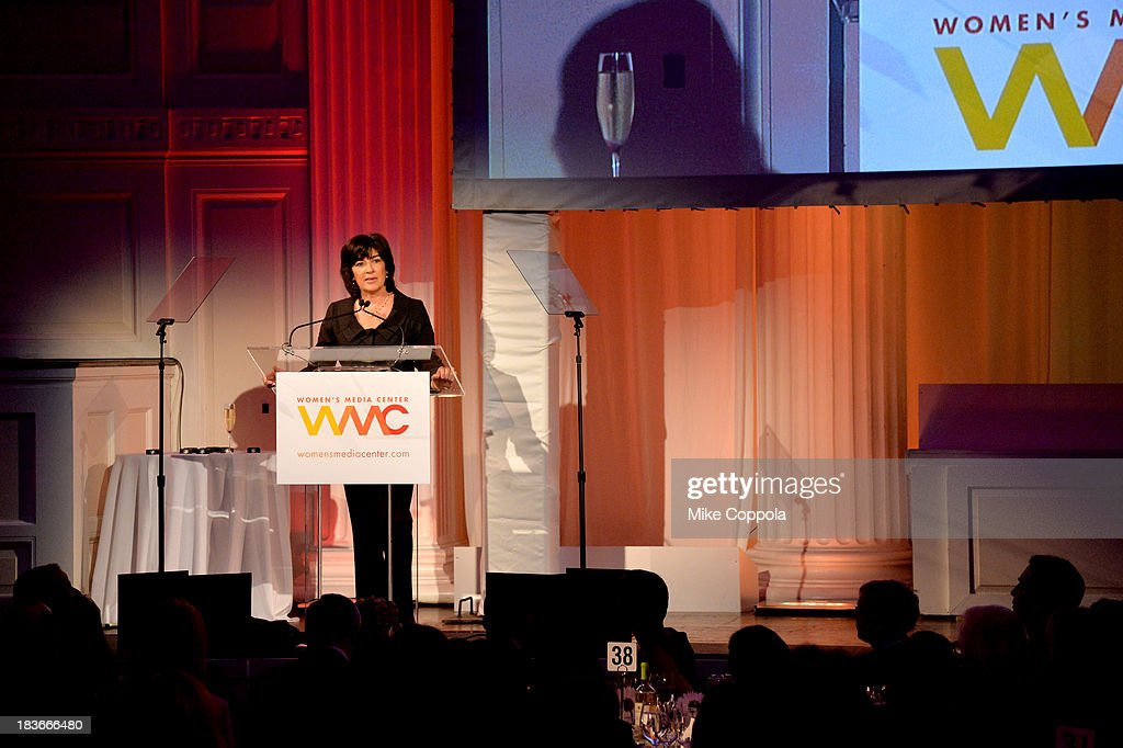 Women's Media Center Pat Mitchell Lifetime Achievement Award winner, Journalist Christiane Amanpour speaks onstage at the 2013 Women's Media Awards on October 8, 2013 in New York City.