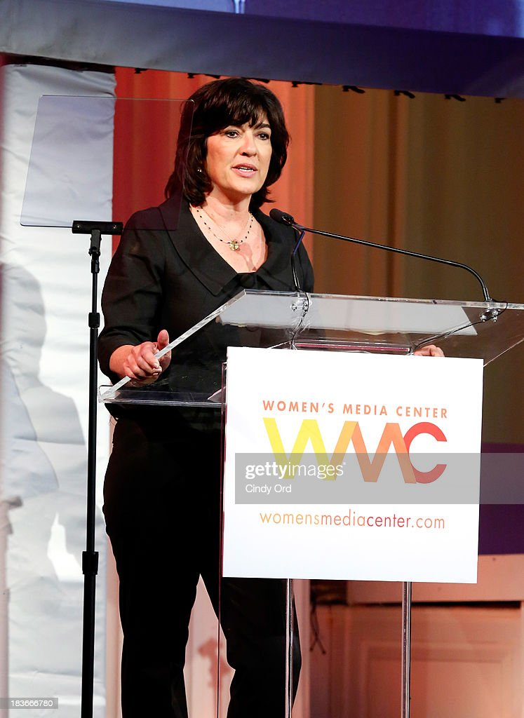 Women's Media Center Pat Mitchell Lifetime Achievement Award winner, Journalist Christiane Amanpour speaks onstage at the 2013 Women's Media Awards on October 8, 2013 in New York City.