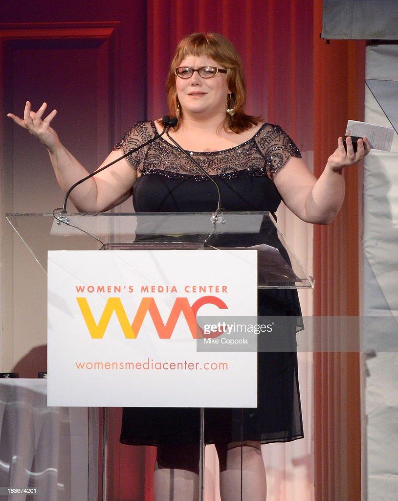 Women's Media Center Social Media Award winner, Lindy West speaks onstage at the 2013 Women's Media Awards on October 8, 2013 in New York City.