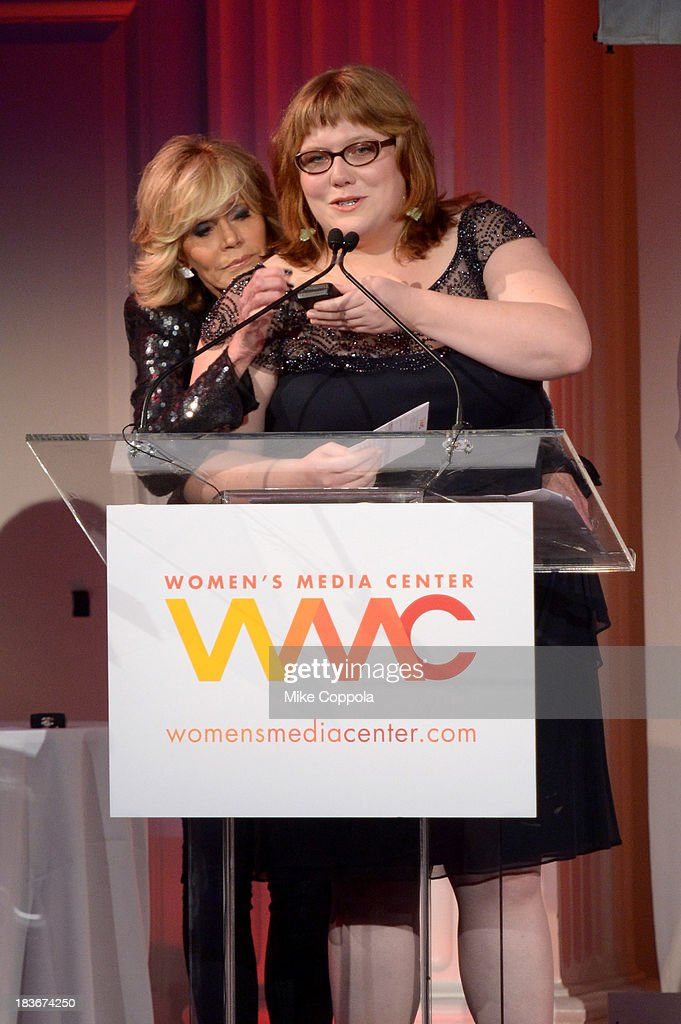 Women's Media Center Social Media Award winner, Lindy West speaks onstage with Jane Fonda at the 2013 Women's Media Awards on October 8, 2013 in New York City.