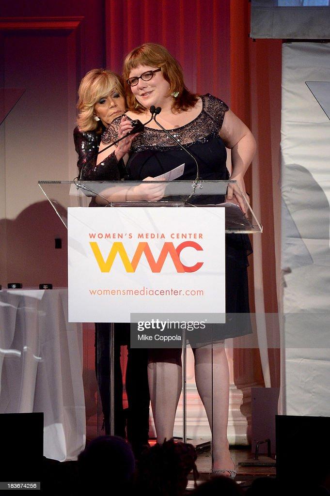 Women's Media Center Social Media Award winner, Lindy West speaks onstage with Jane Fonda at the 2013 Women's Media Awards on October 8, 2013 in New York City.