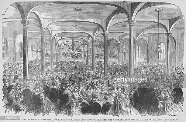 Women's meeting at Cooper Union Hall New York City for relief of soldiers New York New York early to mid 1860s