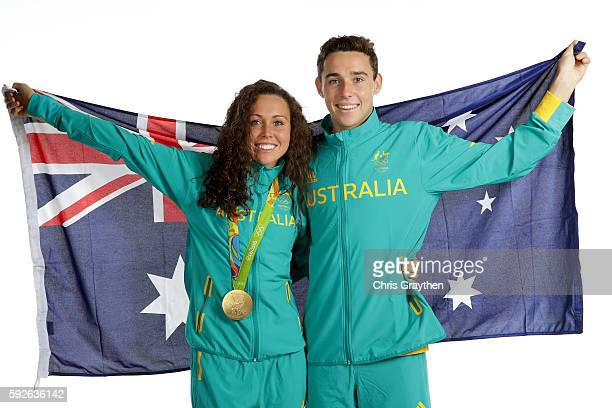 Women's Modern Pentathlon Gold medalist Chloe Esposito and her brother Max of Australia pose during a portrait session on August 21 2016 in Rio de...