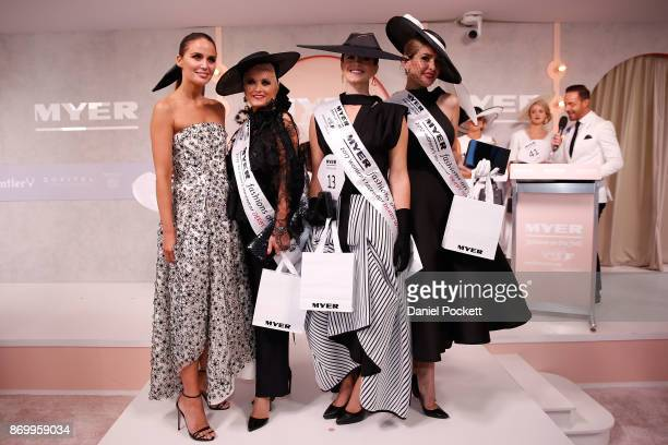 Women's Myer Fashions on the Field daily winner Montelle Mondello poses with second player winner Tanya Lazarou third place winner Lisa March and...