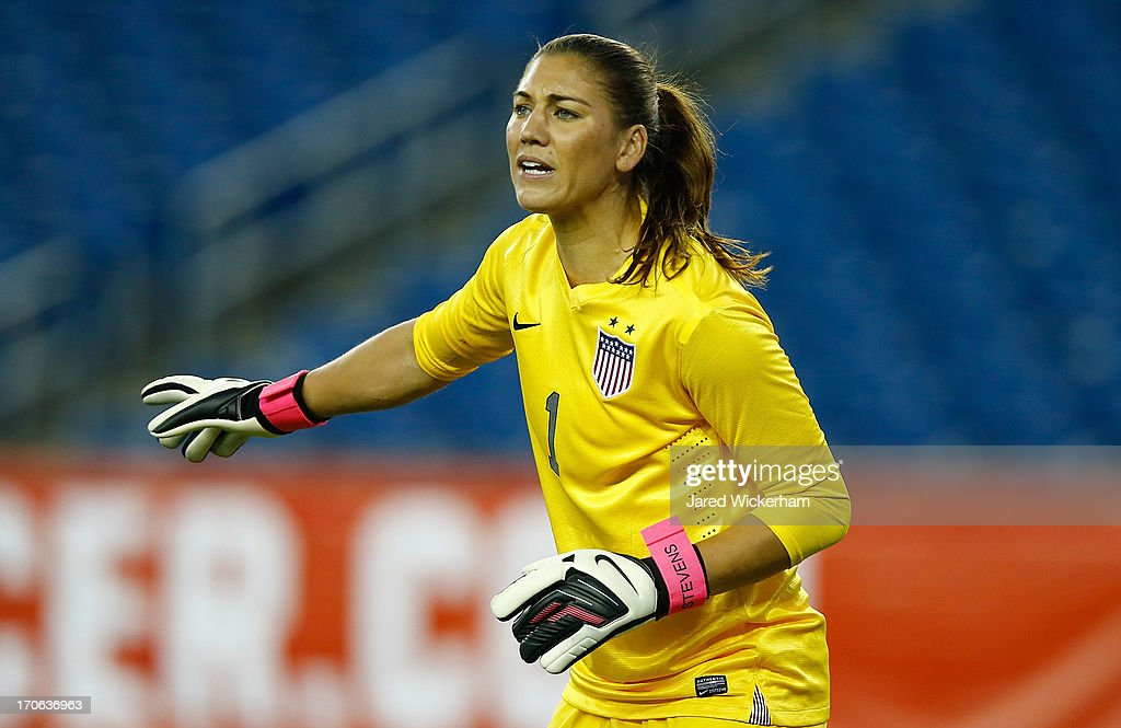 US Womens National goalkeeper <a gi-track='captionPersonalityLinkClicked' href=/galleries/search?phrase=Hope+Solo&family=editorial&specificpeople=580524 ng-click='$event.stopPropagation()'>Hope Solo</a> #1 plays against Korea Republic during the game at Gillette Stadium on June 15, 2013 in Foxboro, Massachusetts.