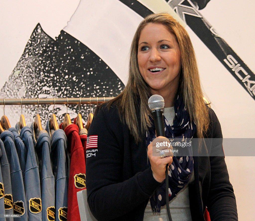 U.S. Women's National Hockey Team forward <a gi-track='captionPersonalityLinkClicked' href=/galleries/search?phrase=Meghan+Duggan&family=editorial&specificpeople=4234644 ng-click='$event.stopPropagation()'>Meghan Duggan</a> answers fan questions during an appearance at the NHL Powered by Reebok Store on October 28, 2013 in New York City. The U.S. Women's team is in New York City as part of the U.S. Olympic Committee's '100 Days Out' celebration for the 2014 Olympic Winter Games.