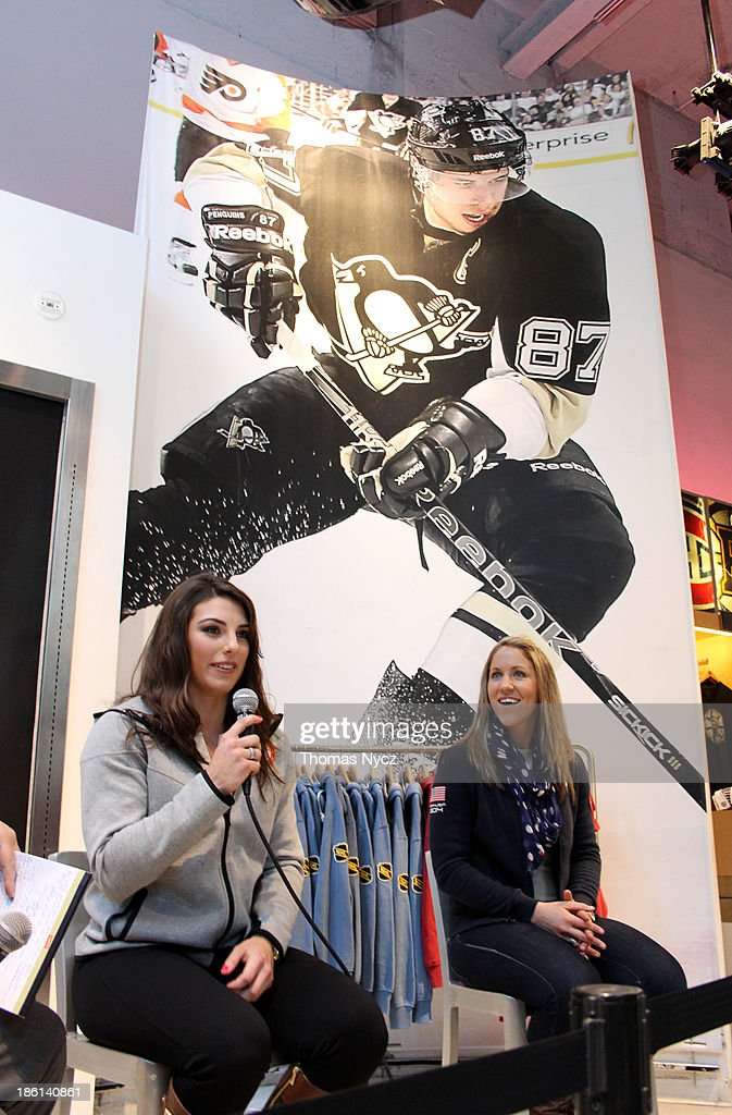 U.S. Women's National Hockey Team forwards <a gi-track='captionPersonalityLinkClicked' href=/galleries/search?phrase=Hilary+Knight+-+Hockey+Player&family=editorial&specificpeople=6718401 ng-click='$event.stopPropagation()'>Hilary Knight</a> and <a gi-track='captionPersonalityLinkClicked' href=/galleries/search?phrase=Meghan+Duggan&family=editorial&specificpeople=4234644 ng-click='$event.stopPropagation()'>Meghan Duggan</a> answer fan questions during an appearance at the NHL Powered by Reebok Store on October 28, 2013 in New York City. The U.S. Women's team is in New York City as part of the U.S. Olympic Committee's '100 Days Out' celebration for the 2014 Olympic Winter Games.