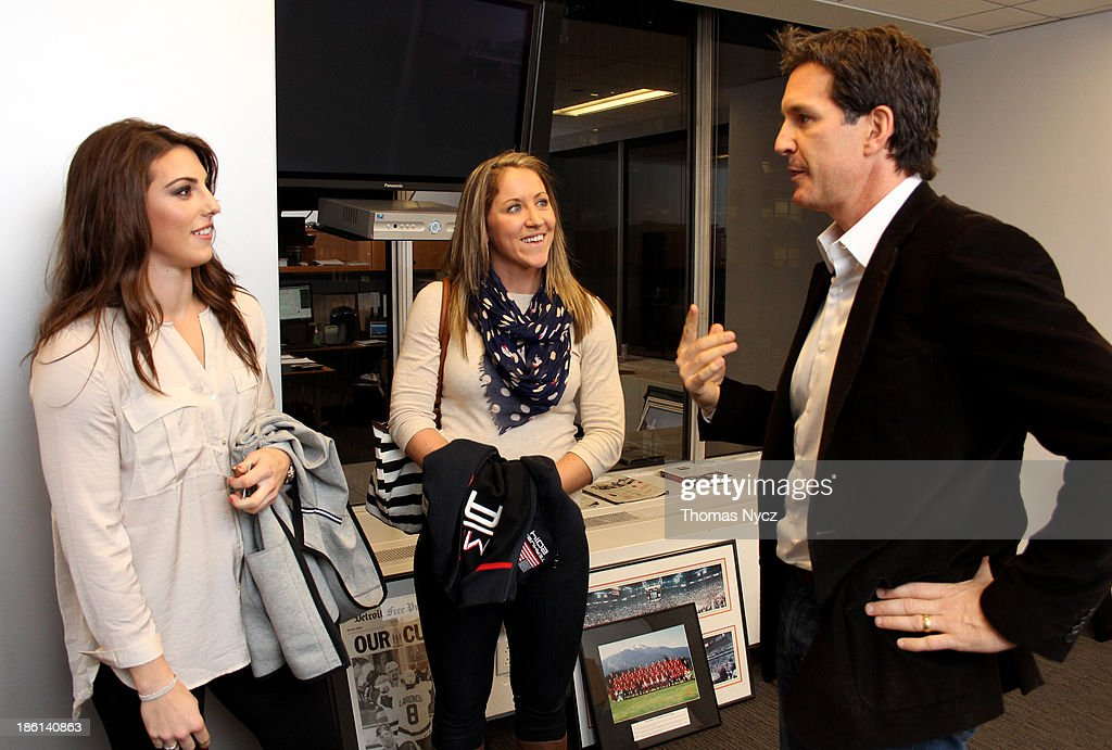 U.S. Women's National Hockey Team forwards Hilary Knight and Meghan Duggan speak with NHL Senior Vice President Player Safety and Hockey Operations Brendan Shanahan at the NHL offices on October 28, 2013 in New York City. The U.S. Women's team is in New York City as part of the U.S. Olympic Committee's '100 Days Out' celebration for the 2014 Olympic Winter Games.