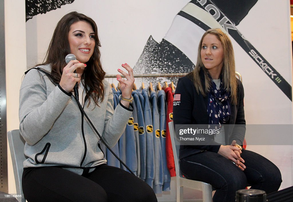 U.S. Women's National Hockey Team forwards <a gi-track='captionPersonalityLinkClicked' href=/galleries/search?phrase=Hilary+Knight+-+Hockey+Player&family=editorial&specificpeople=6718401 ng-click='$event.stopPropagation()'>Hilary Knight</a> and <a gi-track='captionPersonalityLinkClicked' href=/galleries/search?phrase=Meghan+Duggan&family=editorial&specificpeople=4234644 ng-click='$event.stopPropagation()'>Meghan Duggan</a> answer fans' questions during an appearance at the NHL Powered by Reebok Store on October 28, 2013 in New York City. The U.S. Women's team is in New York City as part of the U.S. Olympic Committee's '100 Days Out' celebration for the 2014 Olympic Winter Games.