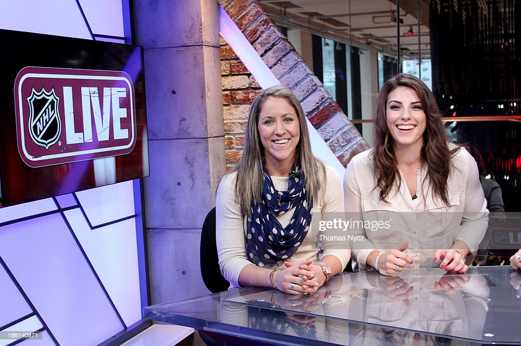 U.S. Women's National Hockey Team forwards <a gi-track='captionPersonalityLinkClicked' href=/galleries/search?phrase=Hilary+Knight+-+Hockey+Player&family=editorial&specificpeople=6718401 ng-click='$event.stopPropagation()'>Hilary Knight</a> and <a gi-track='captionPersonalityLinkClicked' href=/galleries/search?phrase=Meghan+Duggan&family=editorial&specificpeople=4234644 ng-click='$event.stopPropagation()'>Meghan Duggan</a> appear on the NHL Live television program on October 28, 2013 in New York City. The U.S. Women's team is in New York City as part of the U.S. Olympic Committee's '100 Days Out' celebration for the 2014 Olympic Winter Games.