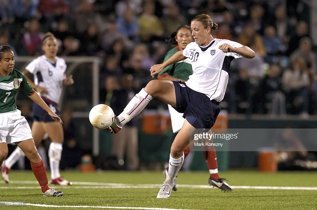 US Women's National Soccer Team forward Abby Wambach controls the ball during an international friendly match against Mexico at PAETEC Park in...