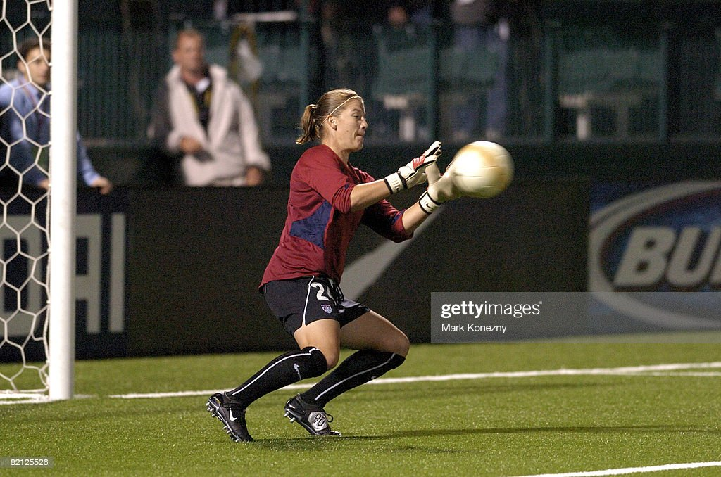 US Women's National Soccer Team goalkeeper Nicole Barnhart in warmups prior to an international friendly match against Mexico at PAETEC Park in...