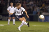 US Women's National Soccer Team midfielder Leslie Osborne takes a shot on goal during an exhibition match against Mexico at PAETEC Park in Rochester...