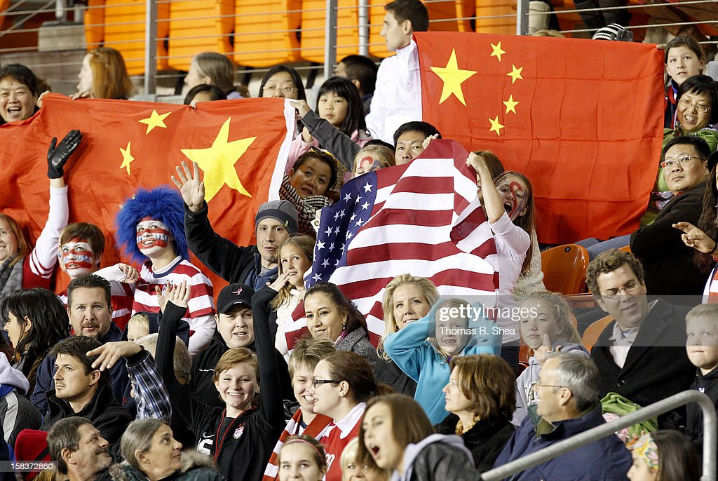 U.S. Women's National Team and China Women's National Team fan wave during an international friendly game at BBVA Compass Stadium on December 12, 2012 in Houston, Texas. USA won 4 to 0.