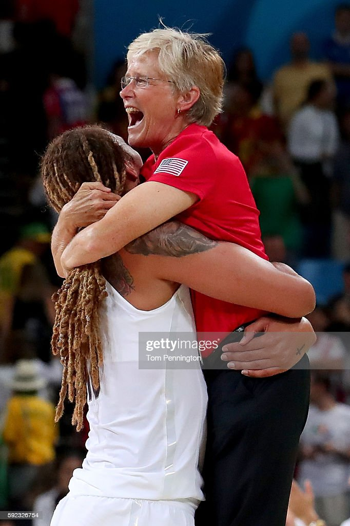 Women's National Team Director Carol Callan is embraced by Brittney Griner of United States after Team USA wins the Women's Gold Medal Game between...