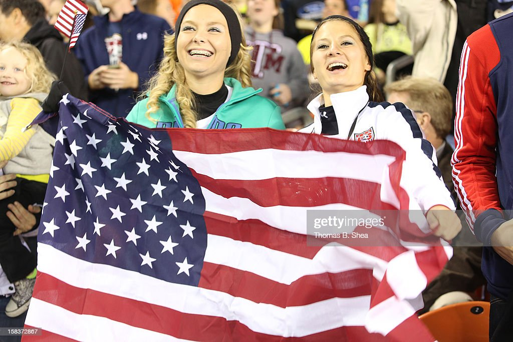 U.S. Women's National Team fan cheer as U.S. Women's National Team score a goal against the China Women's National Team in an international friendly game at BBVA Compass Stadium on December 12, 2012 in Houston, Texas. USA won 4 to 0.